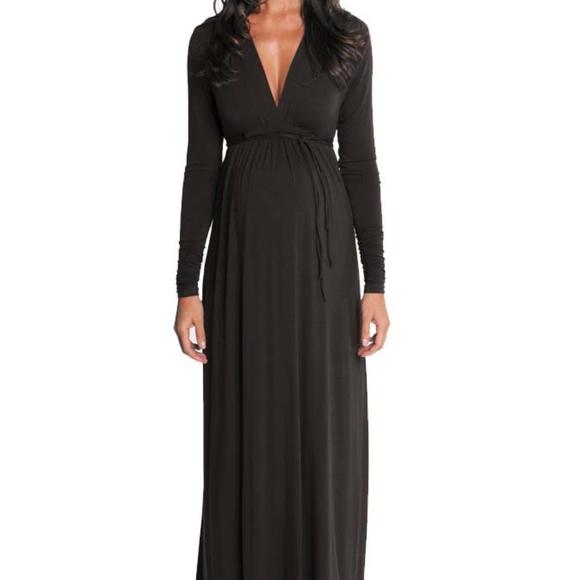 Olian Dresses Lucy Maternity Black Long Sleeve Maxi Dress Poshmark